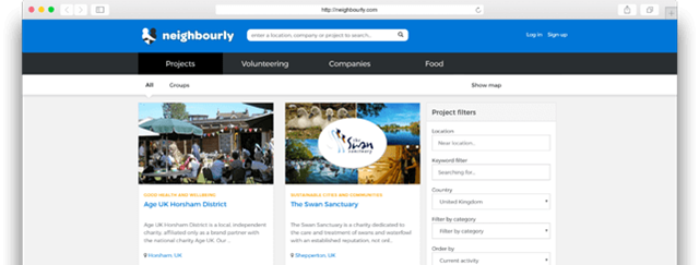 Neighbourly - create a project page