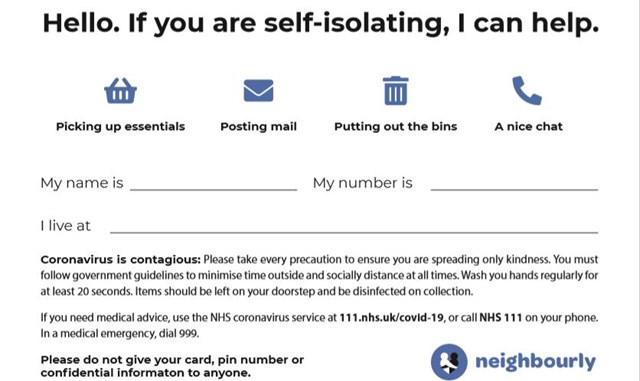 self isolating coronavirus help card neighbourly